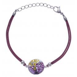 Bracelet acier - nacre - émail - coton fushia - 17+3cm