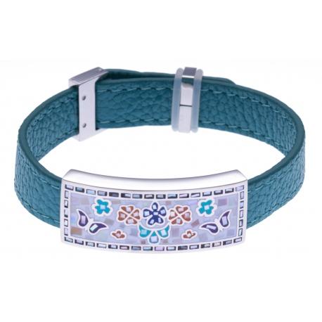Bracelet en acier - émail - nacre- cuir bleu- largeur 1cm - longueur 22cm