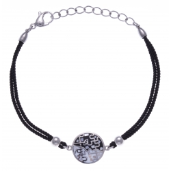 Bracelet acier - nacre - émail - coton noir - 17+3cm