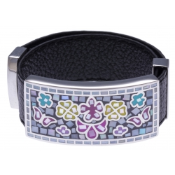 Bracelet acier - papillon - émail - nacre - cuir noir - largeur 2cm - longueur 23,5cm