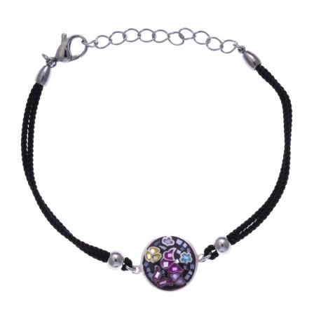 Bracelet acier - papillon - nacre - émail - coton noir - 17+3cm