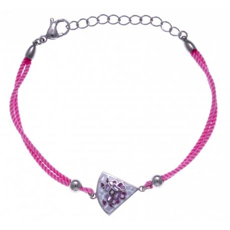 Bracelet acier - nacre - émail - coton rose - 17+3cm