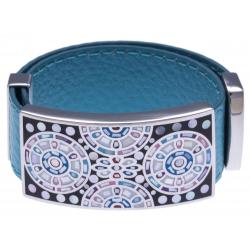Bracelet acier - émail - nacre - cuir bleu - largeur 2cm - longueur 23,5cm