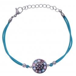 Bracelet acier - nacre - émail - coton bleu clair - 17+3cm