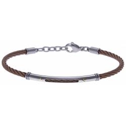 Bracelet acier - câble acier marron - or jaune 18KT 0,03gr- 19,5+15cm