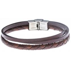 Bracelet acier - cuir italien et cuir tressé italien marron  - 3 rangs - 21,5cm - réglable
