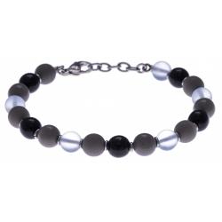 Bracelet acier - verre de murano - tons gris, noirs et blancs - 19+4cm