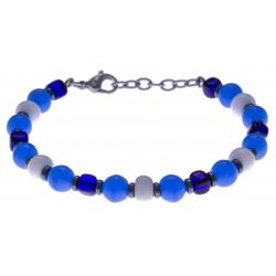 Bracelet acier - verre de murano - tons bleu et blanc - 19+4cm
