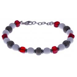 Bracelet acier - verre de murano - tons rouges,blancs et gris - 19+4cm