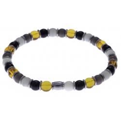 Bracelet acier - verre de murano - tons  jaune, blanc, noir et gris - élastique - 20cm