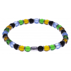 Bracelet acier - verre de murano - tons bleu clair, jaune, vert, noir - élastique - 20cm