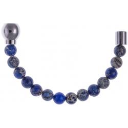 Apollon - Collection MiX - Moitié - jaspe impériale teintée bleue 6mm - longueur 10,5cm