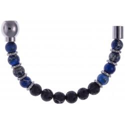 Apollon - Collection MiX - Moitié - jaspe impériale teintée bleue - pierre de lave - 6mm - composants acier - longueur 10,75cm