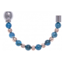 Apollon - Collection MiX - Moitié - apatite 6mm - hématite rosé enrobée - longueur 9,25cm