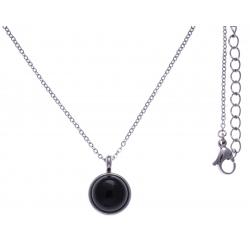 Collier en acier - cabochon onyx 14mm - 40+7cm