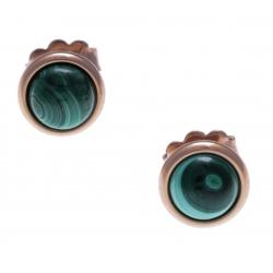 Boucles d'oreille en acier rosé - cabochon malachite 8mm
