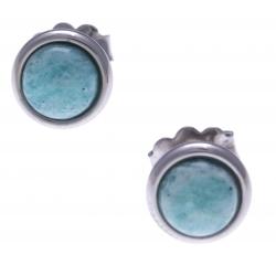Boucles d'oreille en acier - cabochon amazonite 8mm