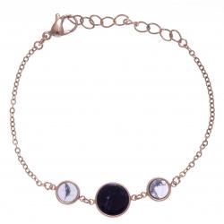 Bracelet en acier rosé - sodalite et howlite blanche - diamètre 8, 11 et 8mm - longueur - 16+4cm