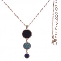 Collier en acier rosé - onyx, amazonite et sodalite - diamètre 14, 11 et 8mm - longueur - 45+10cm