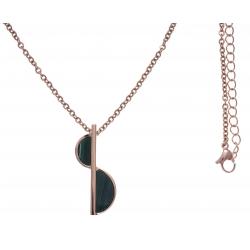 Collier en acier rosé - malachite - longueur 45+10cm
