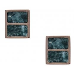 Boucles d'oreille en acier rosé - amazonite