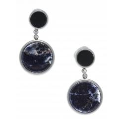 Boucles d'oreille en acier - sodalite et onyx - diamètre 14 et 8mm
