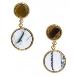 Boucles d'oreille en acier doré - howlite blanche et œil de tigre diamètre 11 et 8mm