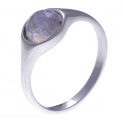 Bague argent rhodié 2,5g -  pierre de lune facetté - T50 à 60
