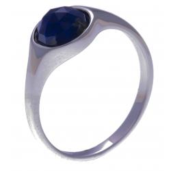 Bague argent rhodié 2,5g -  lapis lazuli  facetté - T50 à 60
