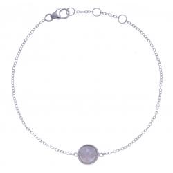 Bracelet argent rhodié 1,5g - pierre de lune facetté - 17+1+1cm
