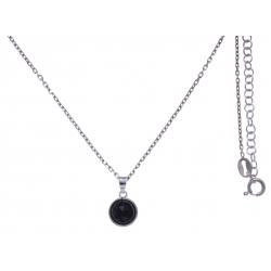 Collier argent rhodié 3g - onyx facetté - 38+5cm