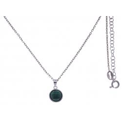 Collier argent rhodié 3g - malachite facetté - 38+5cm