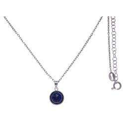 Collier argent rhodié 3g -  lapis lazuli  facetté - 38+5cm