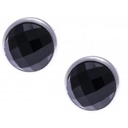 Boucles d'oreille argent rhodié 1,8g - onyx facetté