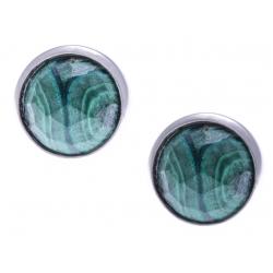 Boucles d'oreille argent rhodié 1,8g - malachite facetté