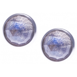 Boucles d'oreille argent rhodié 1,8g -  pierre de lune facetté