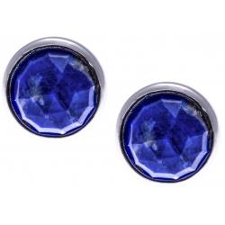 Boucles d'oreille argent rhodié 1,8g -  lapis lazuli  facetté