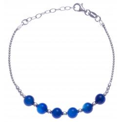 Bracelet argent rhodié 4,2g - 6 billes agate blueue foncée 6mm - 17+3cm
