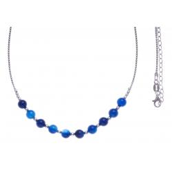 Boucles d'oreille argent rhodié 4,9g - 1 bille 6mm - 1 bille 8mm - agate blueue foncée - longueurs 4,5 et 6cm