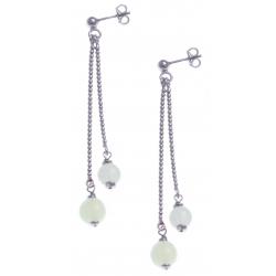 Boucles d'oreille argent rhodié 4,9g - 1 bille 6mm - 1 bille 8mm - pierre de lune - longueurs 4,5 et 6cm