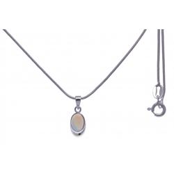 Collier argent rhodié 3g - opale noble d'éthiopie - 40+5cm