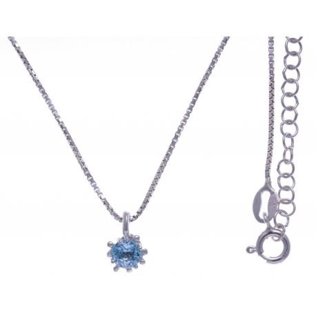 Collier argent rhodié 3,2g - bleu topaze - 40+5cm