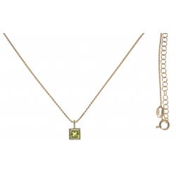 Collier argent doré 4,4g - peridot - 45+5cm