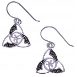 Boucles d'oreille argent rhodié 2,3g - triskel - marcassites