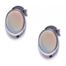 Boucles d'oreille argent rhodié 0,7g - opale noble d'éthiopie