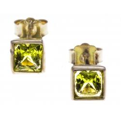 Boucles d'oreille argent doré 2g - péridot - 6x6mm