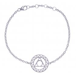 Bracelet argent rhodié 3g - chakra de la gorge - 17+1+1cm