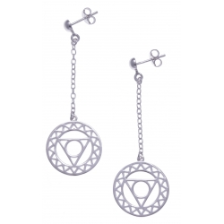 Boucles d'oreille argent rhodié 4,8g - chakra couronne - chaine 2,5cm