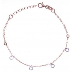Bracelet argent rosé 1,8g - cristaux de swarovski - 17+3cm