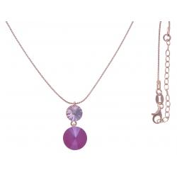 Collier argent rosé 3,9g  - cristaux de swarovski - couleur fushia et pivoine - 40+5cm